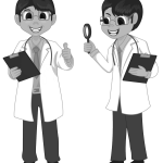 researchers in labcoats holding clipboards
