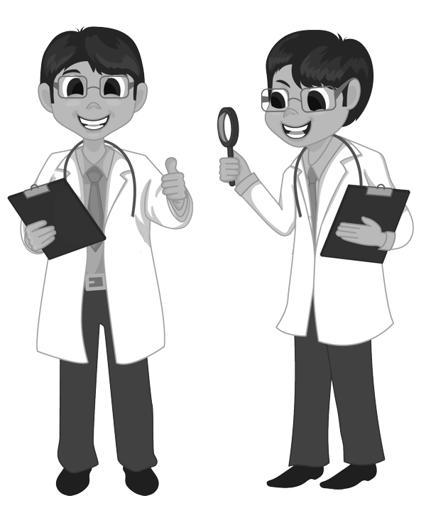 Researchers in lab coats holding clipboards